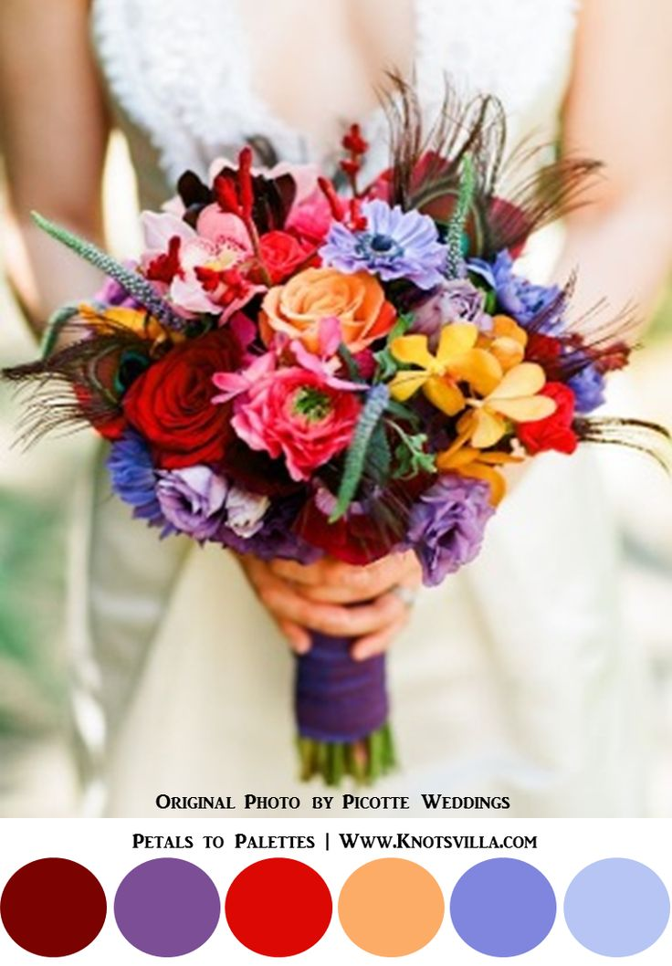 384 best jewel tone wedding images on pinterest flower for Bright wedding bouquet