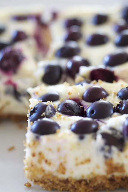 Blueberry lemon cheesecake bars.  I'd love to make these with raspberries instead.  Or strawberries... YUM.