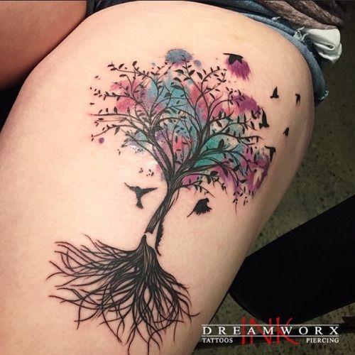 Artist: Lu 3883 Rutherford Rd Vaughan, ON 905-605-2663  www.dreamworxink.com Hours: Tues-Fri 12-8pm, Sat 12-6pm #dreamworxink #dreamworxinklu #woodbridge #woodbridgetattoo #vaughan #vaughantattoo #vaughantattooshop #toronto #six #torontotattooshop #torontotattoo #torontotattooartist #torontotattooshop #tattoo #tattoos #ink #inked #tatted  #tree #treetattoo #birds #birdtattoo #thigh #thightattoo #colourtattoo #thighpiece