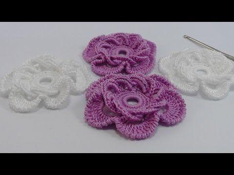 Как вязать цветок- розочку крючком с витыми столбиками. УРОКИ ВЯЗАНИЯ. Crochet Rose. - YouTube