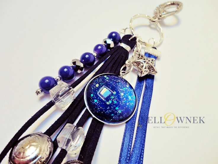 NIGHT SKY Handmade bag charm/keyring. Mix of leather, glass cabochon, chains glass/ceramic/wood/plastic beads and satin ribbon.