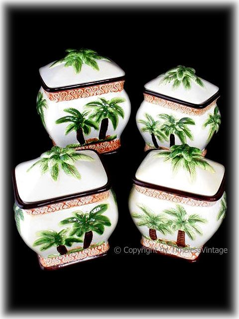 hawaiian kitchen decor | 4pc Tropical Hawaiian Palm Tree Kitchen Canister Set