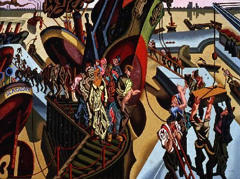"William Roberts (English, 1895 - 1980) ""Dock Gates"", 1920 (aka Disembarkation)"