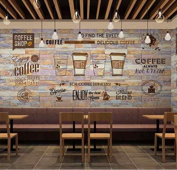 Beibehang Custom Wallpaper European And American Style Retro Hand Painted Blackboard Coffee In 2020 Coffee Shop Decor Coffee Shops Interior Coffee Shop Interior Design