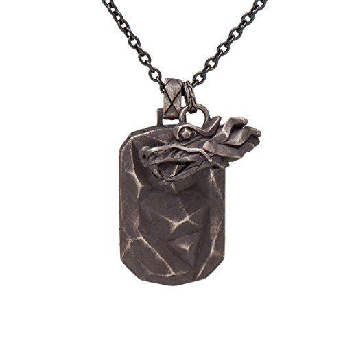 John Hardy Naga Dragon Head Dog Tag Double Charm Pendant Black Stainless Steel Chain Necklace