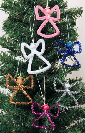 Easy Angel Crafts Wire Cross Angel five finished angels hanging on a tree