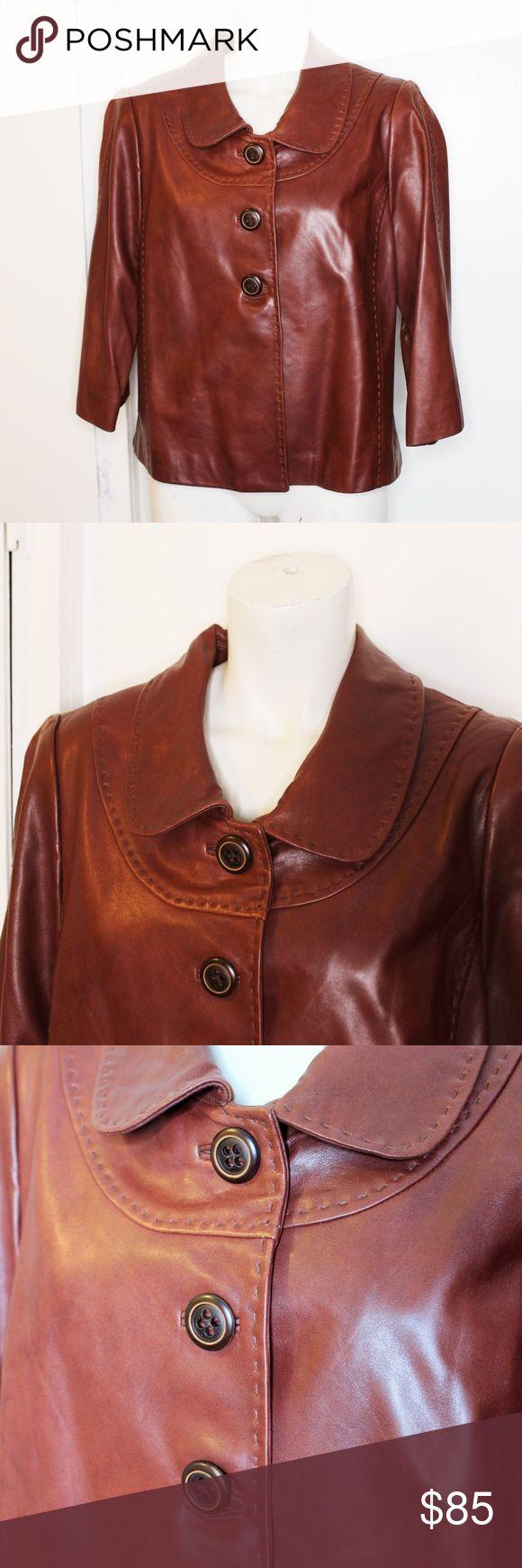 Nordstrom Classiques Entier Brown Leather Jacket L Brown