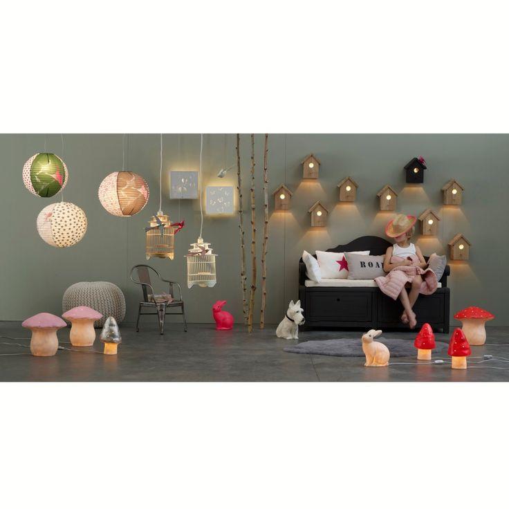 Decoration Chambre Kitsch : Lampadaire stefan chêne kitsch maison et oiseaux