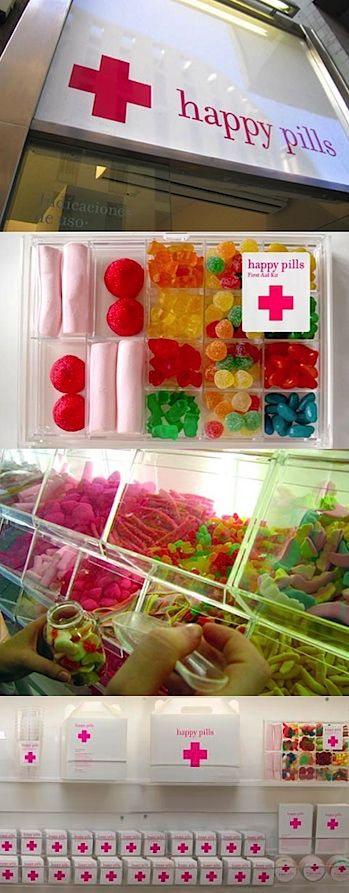 Happy Pills - a candy store in Barcelona. Adorable design.