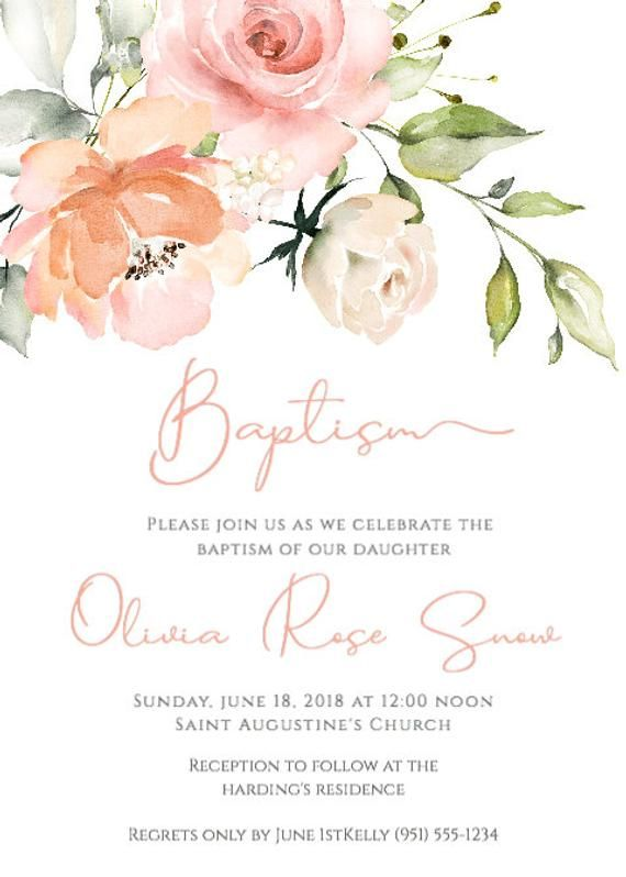 Printable Baptism Invitation Template Floral Baptism Invite Girl Baptism Christening Invitation Editable Template Instant Download Bap4 In 2021 Christening Invitations Girl Floral Invitation Christening Invitations