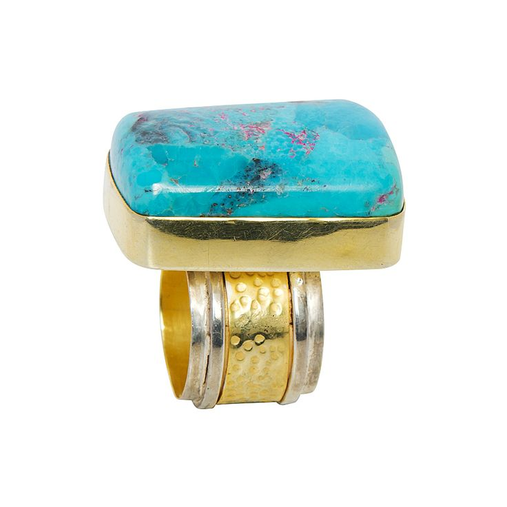 Intrepid Turquoise ring - $230. Statement ring comprising of burnished, vintage effect 24k gold and silver plated contrasting band, with large polished Arizona turquoise inset feature stone. Lovingly designed in Brisbane by luxe Australian designer jewellery label Angle Diamond Dot. www.savethelastpinker.com.au/shop/intrepid-turquoise-ring/