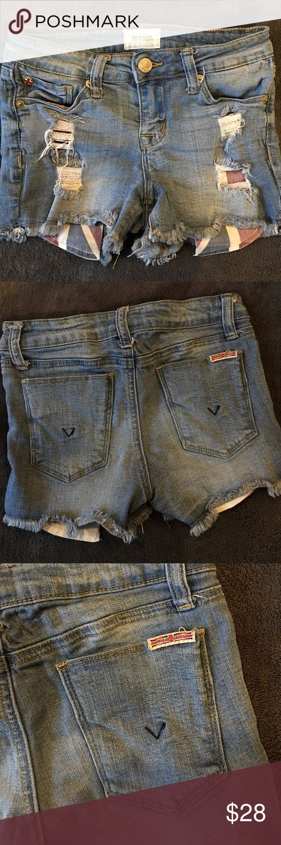 Kids Hudson jean shorts Gently worn, like new. Distressed denim and soft material. Hudson Jeans Bottoms Shorts