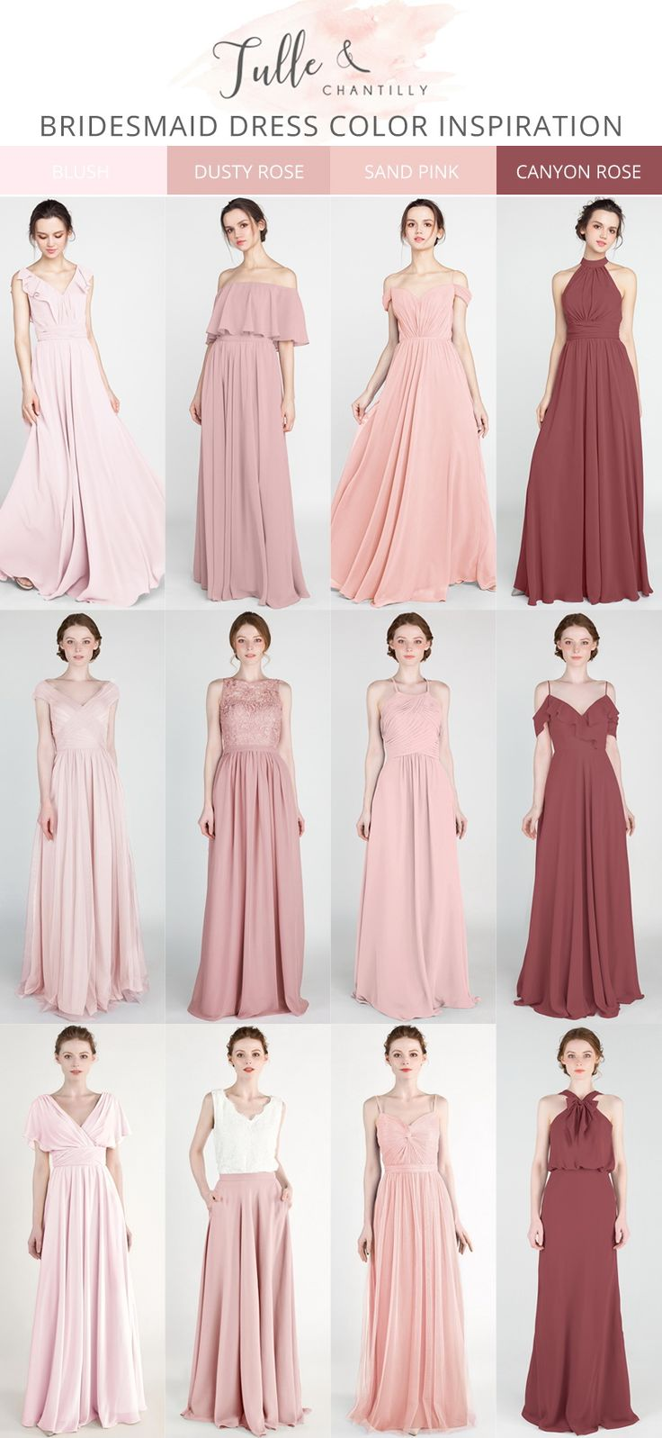 blush, dusty rose, sand pink and canyon rose mismatched bridesmaid dresses #wed …