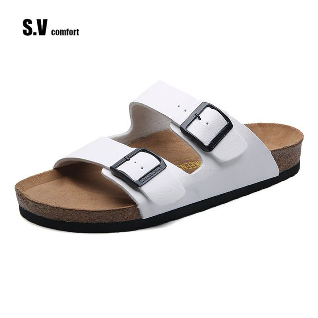 SV Luxury Brand 2017 New Men's Flip Flops Genuine Leather Slippers Summer Fashion Beach Sandals Shoes For Men