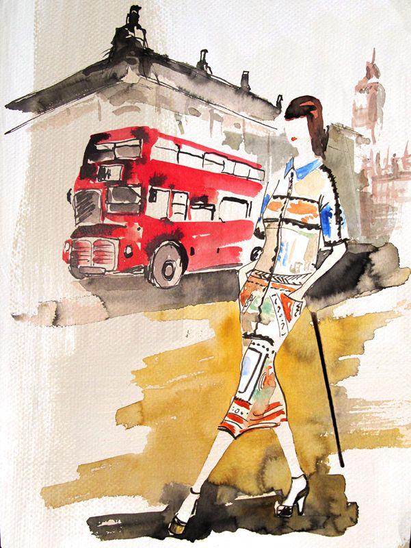 #barbaravontannenberg #newdivision #illustration #watercolour #gouache #textured #character #beauty #decorative #london #bus #fashion