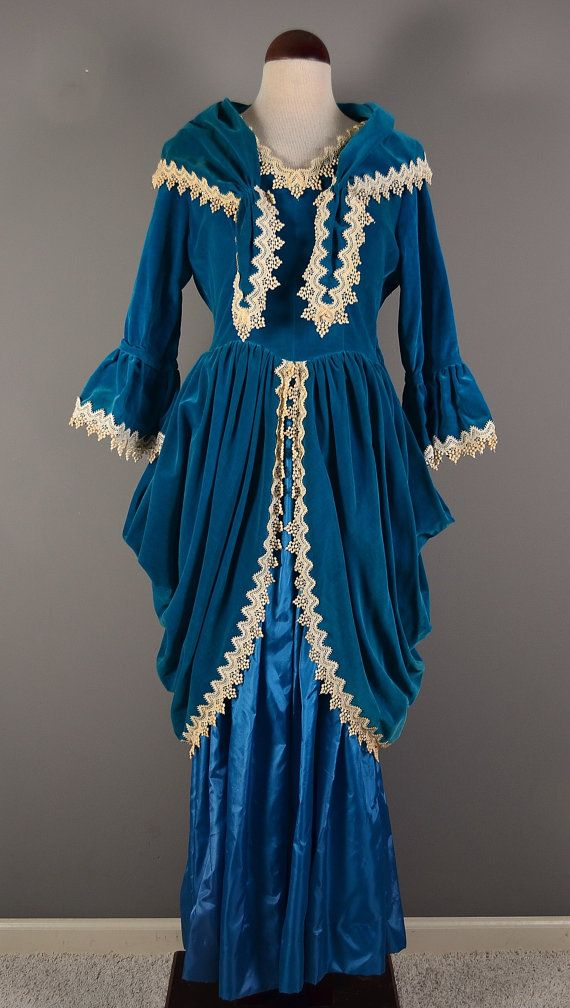 Vintage 1800s Style Teal and Lace Trim Gown--Handmade in 40s/50s--Matching Bag, Shawl, Gloves--Hankie dated by owner