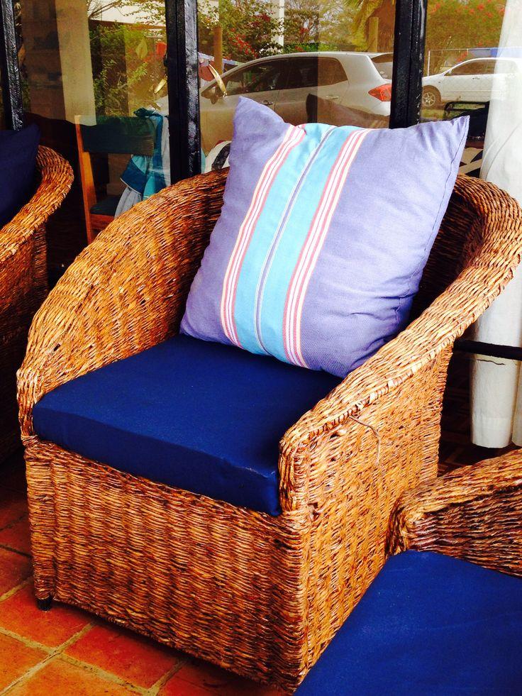Cushions for verandah chair covered with kikoi fabric
