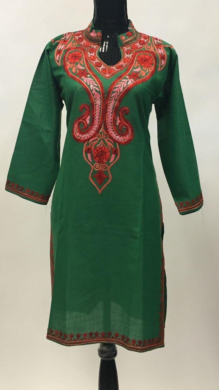 Kashmiri Embroidered Long Kurti - Green