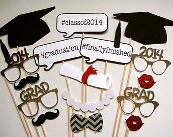 2015 NOW AVAILABLE Graduation Photo Booth Props . Graduation . Class of 2014 . Class of 2015 . Glitter and Metallic . Set of 16