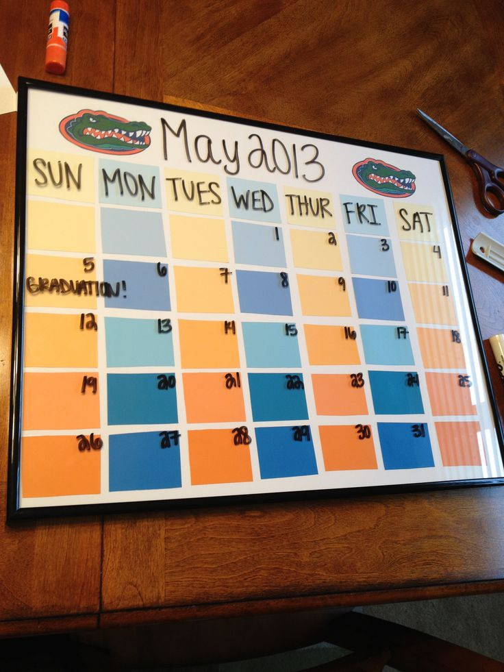 UF Gator  calendar made from paint chips!