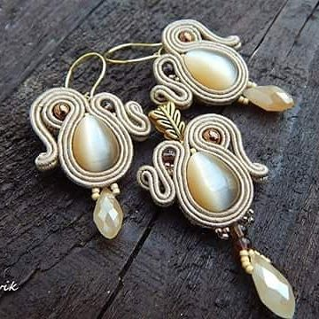 Bej set #sutasz #soutache #earrings #pendant #handmade #jewelry #bijoux #fashiongram #fashion #madeinpoland