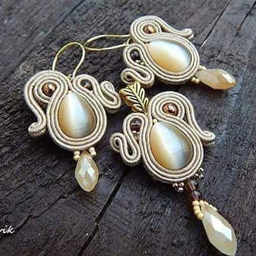 Bej set #sutasz #soutache #earrings #pendant #handmade #jewelry #bijoux #fashiongram #fashion #madeinpoland