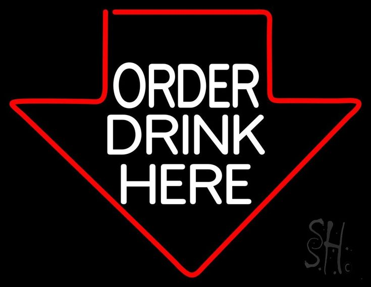 Order Drinks Here With Arrow Neon Sign 24 Tall x 31 Wide x 3 Deep, is 100% Handcrafted with Real Glass Tube Neon Sign. !!! Made in USA !!!  Colors on the sign are Red and White. Order Drinks Here With Arrow Neon Sign is high impact, eye catching, real glass tube neon sign. This characteristic glow can attract customers like nothing else, virtually burning your identity into the minds of potential and future customers.