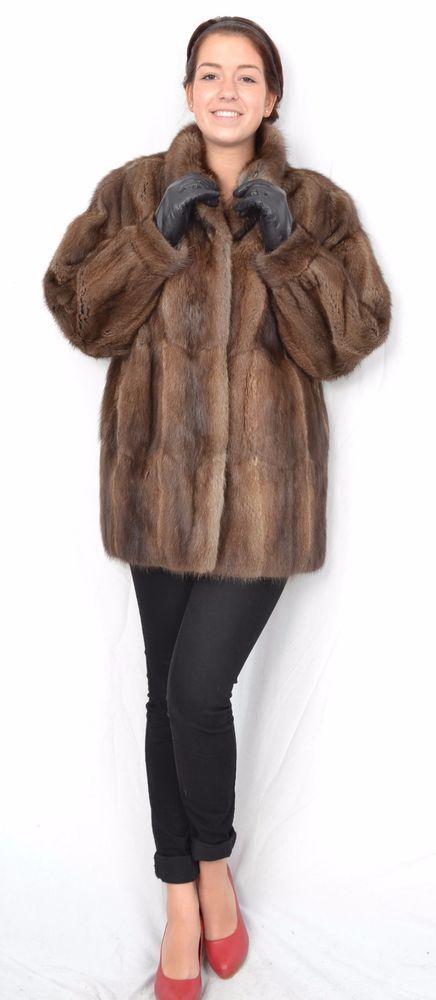 US79 Beautiful soft Muskrat fur jacket Musquash coat no mink Pelzjacke Pelz ~ L #Handmade #BasicCoat