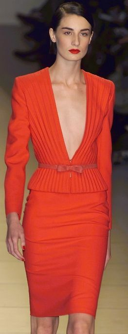 I just wish there was a semi frilly white blouse to cover, otherwise i love this   Valentino - red dress - 2001