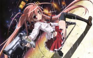 雨、若い女の子、銃、笑顔、脅威、アニメ、