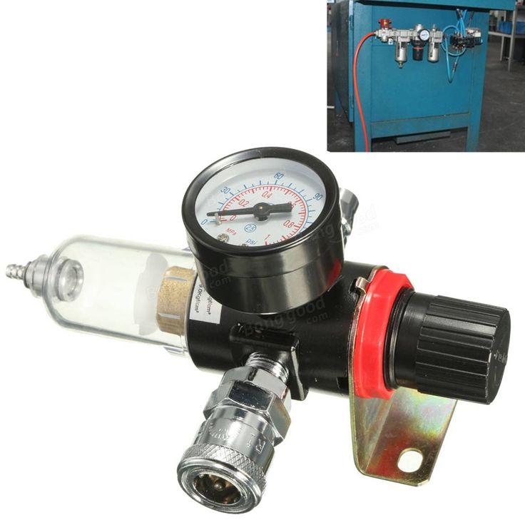 AFR-2000 1/4 Air Compressor Filter Water Separator Trap Tools Kit With Regulator Gauge