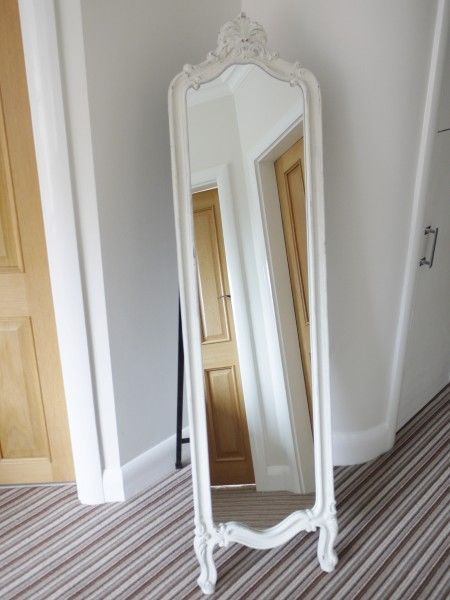 Shabby White chic Mirror Cheval Mirror free standing bevelled glass full length in Home, Furniture & DIY, Home Decor, Mirrors | eBay