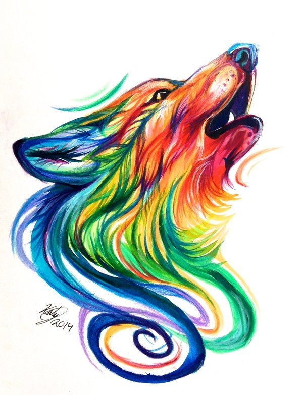Rainbow Wolf Design by Lucky978.deviantart.com on @deviantART