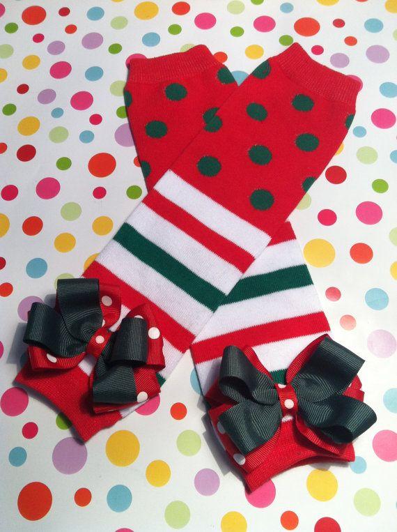 Christmas Polka Dot Leg Warmers and Headband SetRuffled Christmas Leg WarmersBaby Girl Leg Warmers and Headband Set
