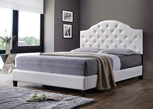 luxury high end tufted queen bed frame with headboard and footboard queen white find out more. Black Bedroom Furniture Sets. Home Design Ideas