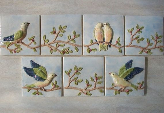 Ceramic Bird and Vine Tiles -- set of 7 Handmade Relief Tiles -- Backsplash -- Handpainted on Etsy, $140.00