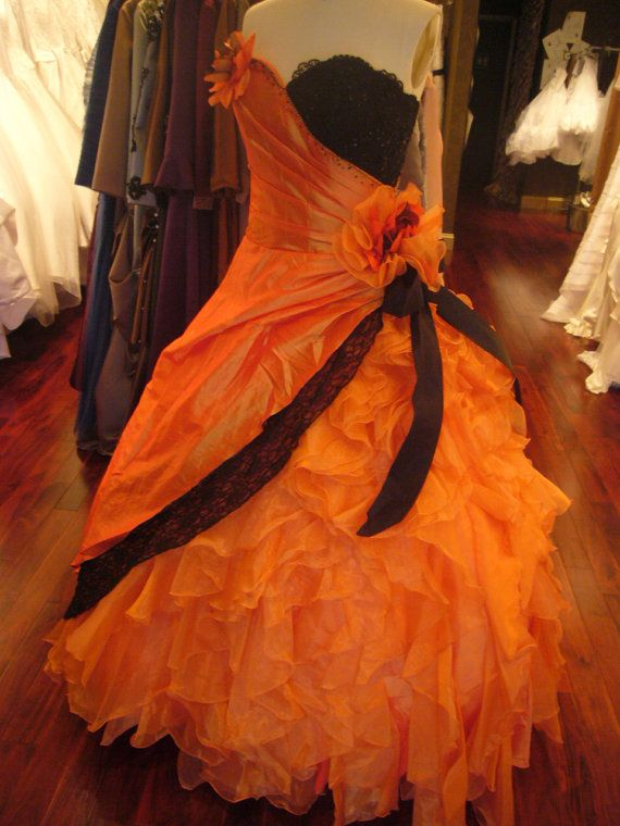 Halloween Wedding Dress in Orange and Black. $769.00, via Etsy.