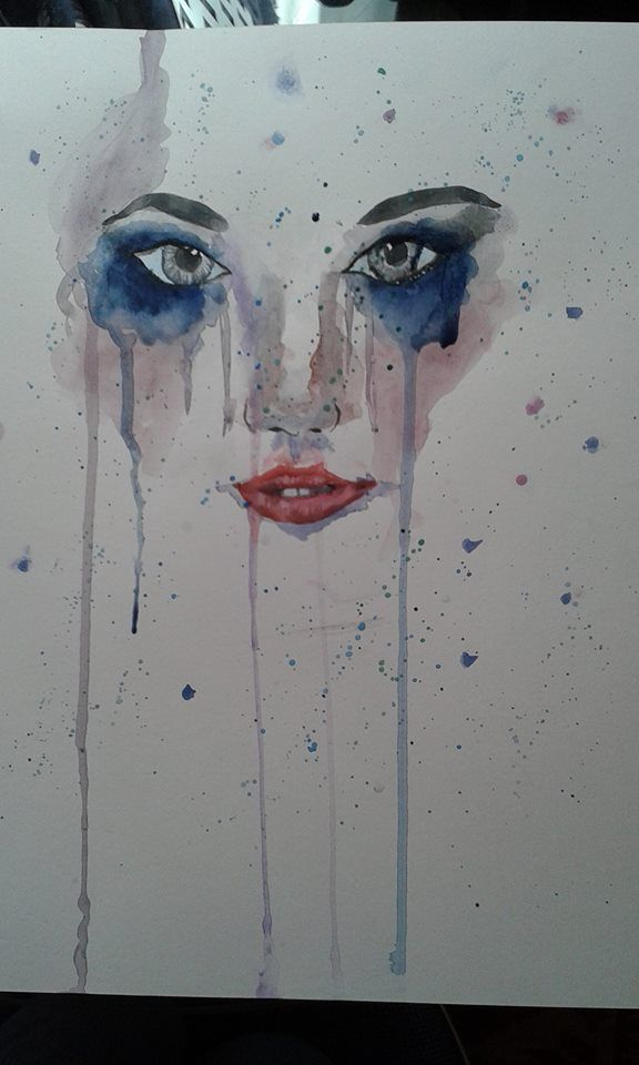 Watercolor Eyes Face of A Girl