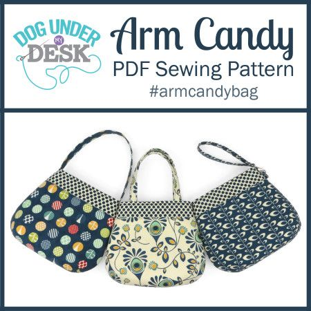 Arm Candy PDF Sewing Pattern 26-page full-color instructions with photos and computer generated pattern pieces. Measures about 9″ wide x 8″ tall x 2.5″ deep. Three strap options included…