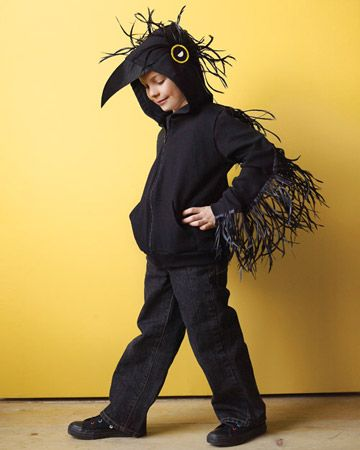 Raven costume with a hoodie! Could easily transform this into any bird costume.