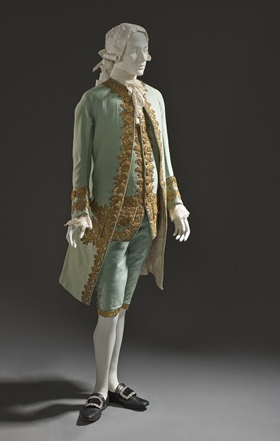 c1760 French Mens Ensemble - Coat and waistcoat: wool plain weave, full finish, with sequins and metallic-thread embroidered appliqués; breeches: wool plain weave, full finish, with silk and metallic-thread passementerie.  See it at http://collections.lacma.org/node/214641