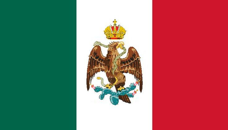 Bandera de Maximiliano I de México Nuestra Bandera Nacional fue diseñada nuevamente, pero manteniendo prácticamente los mismos símbolos, pero ahora devorando a la serpiente; este emblema estuvo vigente hasta el año de 1867 con la muerte de Maximiliano y fue transformada conforme al escudo Imperial de Francia.
