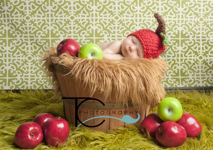 Red Delicious Apple Hat, Newborn, Fruity Fall Photography Prop