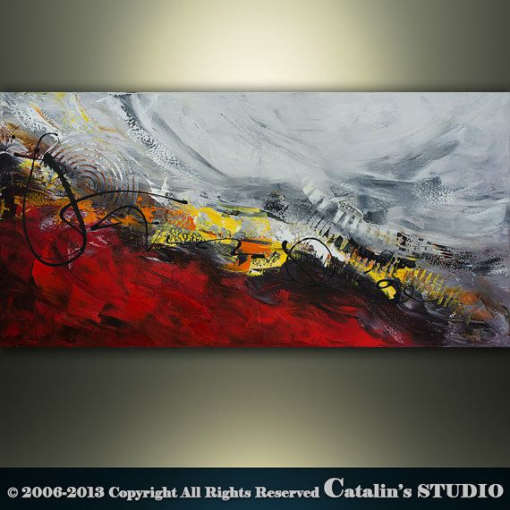 Original Palette Knife Modern Landscape Painting Art by Catalin, $199.00