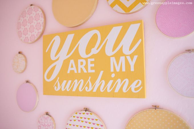 Pink, Coral, Yellow You Are My Sunshine Nursery Wall ArtPink And Yellow Baby Room, Nursery Wall Art, Girls Bedrooms, Pink And Yellow Nursery, Girls Room, Embroidery Hoops, Girls Nurseries, Bright Colors, Girl Rooms
