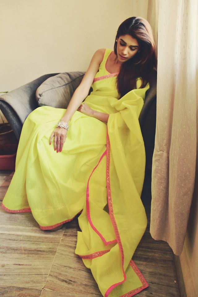 Amazing yellow sari with pink border cotton #saree