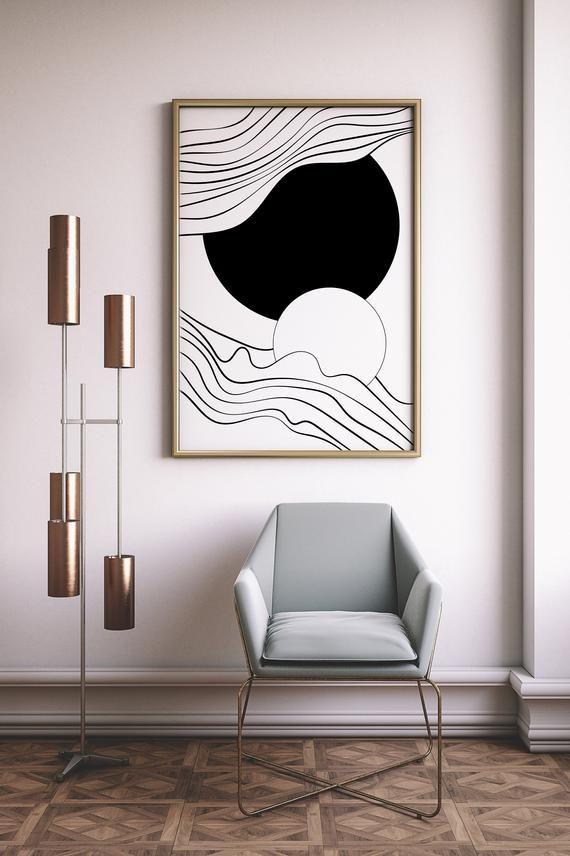 Minimalist Abstract Decor Geometric Wall Art Printable Line Art Print Instant Download No Physical Print In In 2020 Abstract Decor Geometric Wall Art Geometric Wall