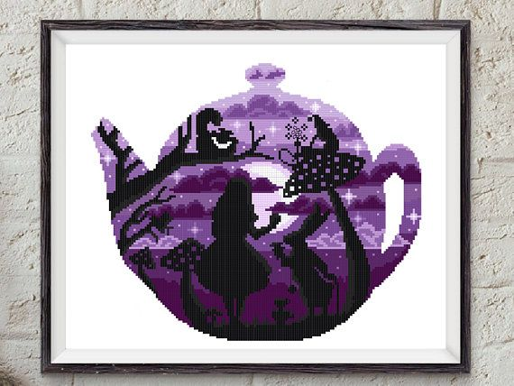 Alice in Wonderland modern cross stitch pattern, counted cross stitch chart, embroidery, nursery decor, girl, baby, DIY, pdf