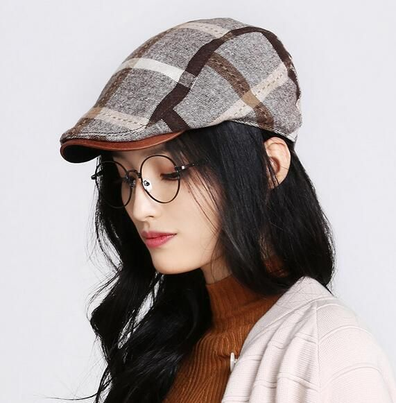 British plaid flat cap for women casual adjustable winter caps warm