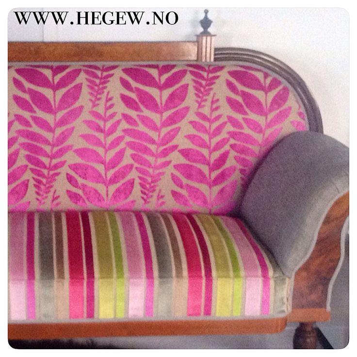 Kreativ sofa i Møbelstoff fra Designers Guild. Leverandør: www.hegew.no Kreativ Designer: Hege Wølner